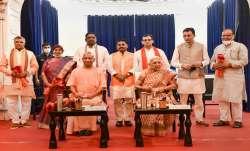 Uttar Pradesh Governor Anandiben Patel and Chief Minister Yogi Adityanath with newly sworn-in state - India TV Paisa