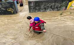 Indian Army jawan rescues a child and villagers stranded in flood-water in Tanakpur, Uttarakhand.- India TV Paisa