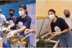 jacqueline fernandez serves meals to people- India TV Hindi