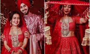 शादी के बाद नई नवेली दुल्हन नेहा कक्कड़ लाल रंग के लहंगे में आईं नजर, पति रोहनप्रीत भी दिखे साथ