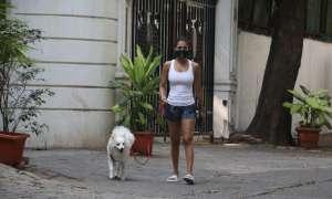 Photos: कोरोना काल में पेट डॉग को फिर घुमाने निकलीं मलाइका अरोड़ा, इस अंदाज में आईं नज़र