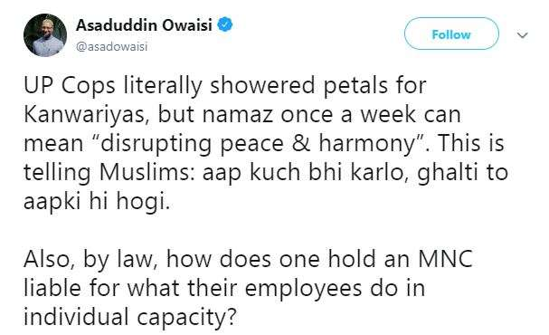 Owaisi's reaction on namaz in open at Noida