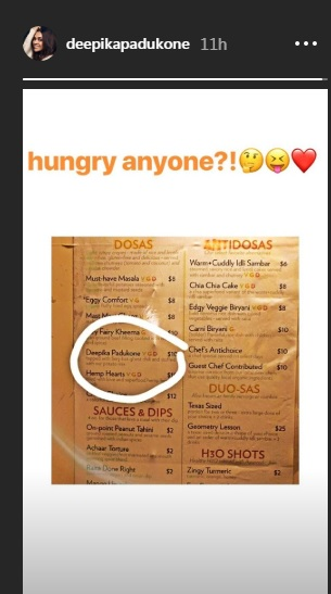 Screenshot of deepika padukone instagram story