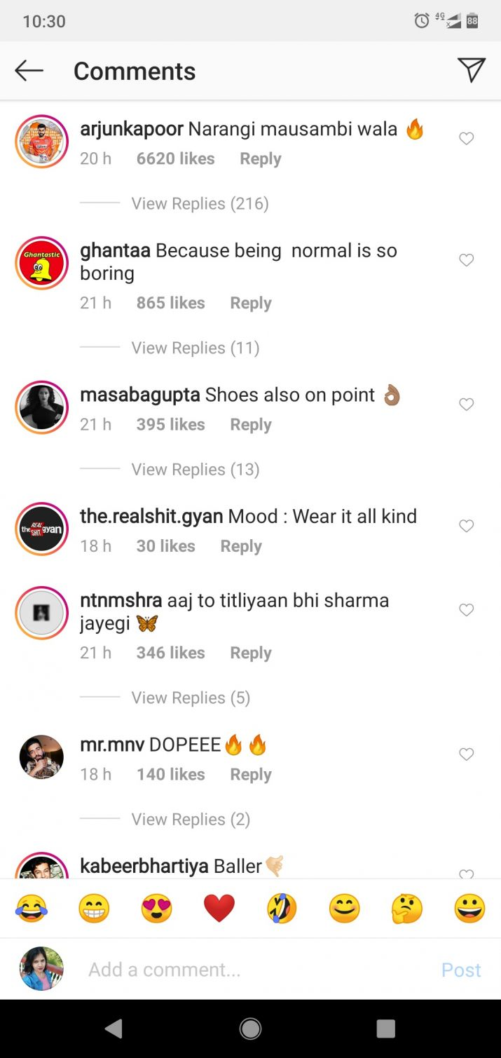 Screenshot of Ranveer singh post
