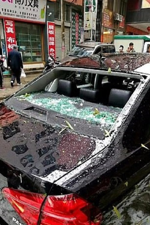 Huge hailstones hammered Chinese county
