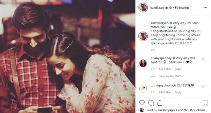 Screenshot of kartik aaryan post