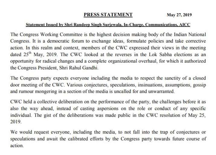 CWC authorized Rahul gandhi for radical changes and a complete organizational overhaul of Party