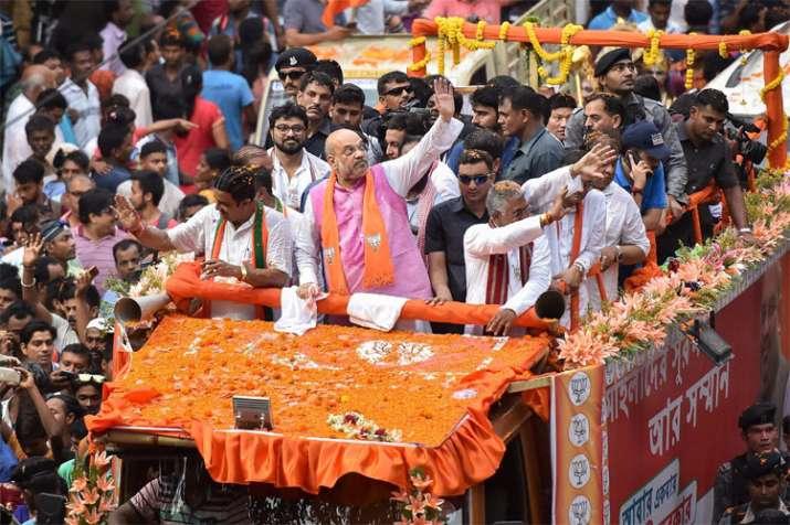 BJP National President Amit Shah during an election roadshow in Kolkata