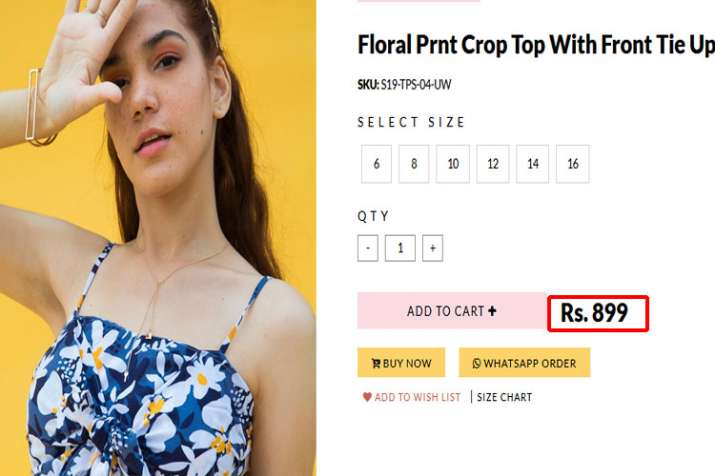 loral print Top with front tie up
