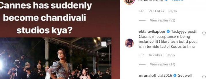 Ekta kapoor comment on karanvir bohra Insta post