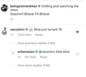 Screenshot of salman khan post
