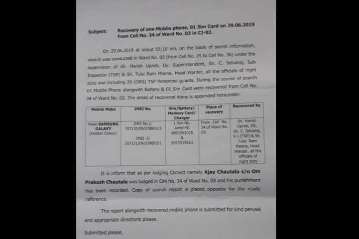 Mobile phone seized from JJP leader Ajay Chautala's cell in Tihar Jail