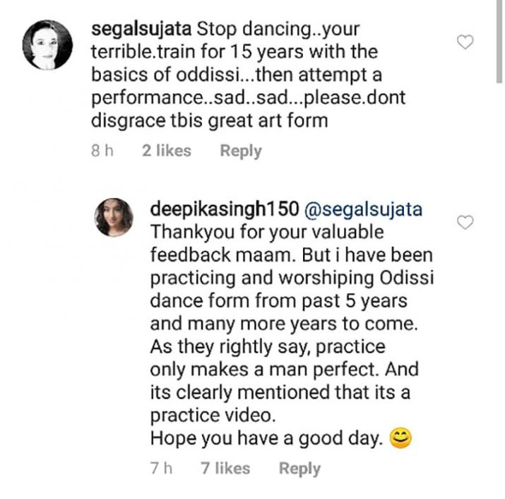 Screenshot of Deepika singh post