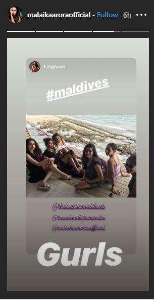 Screenshot of malaika arora insta story