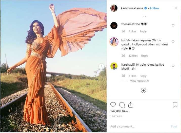 Screenshot of Karishma tanna Instagram post