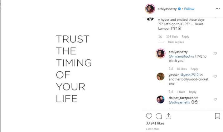Screenshot of athiya shetty instagram post