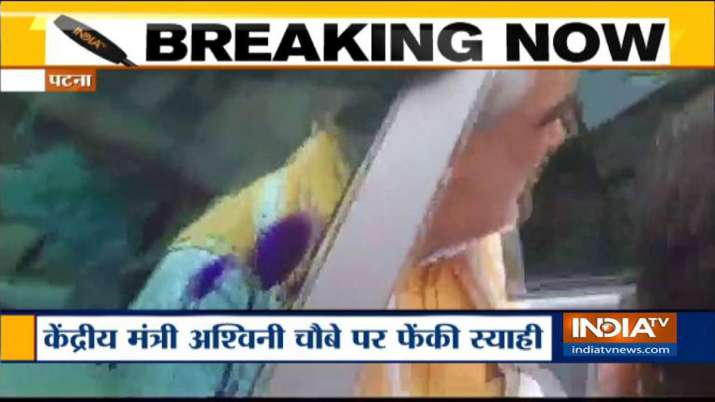 Ashwini choubey faces ink attack at Patna Medical College and Hospital