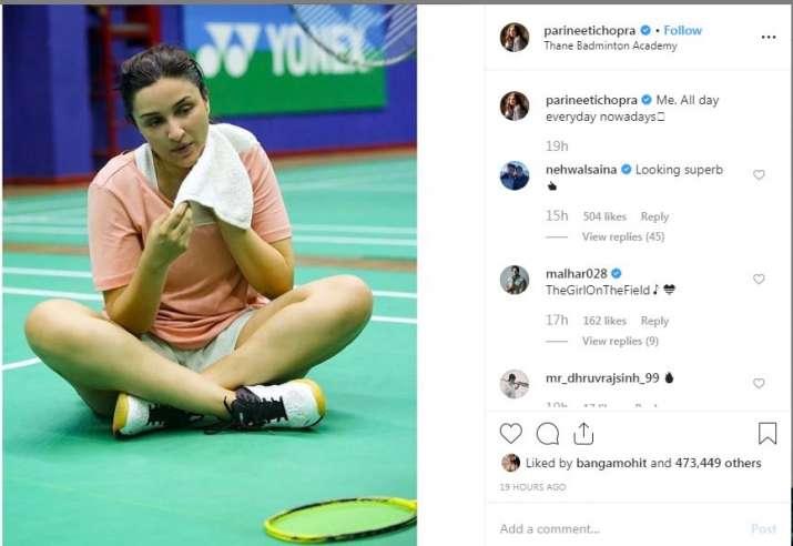 Screenshot of parineeti chopra Instagram post