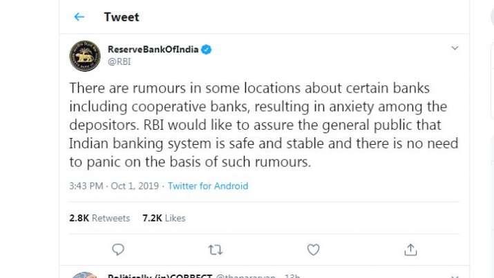 RBI Tweet