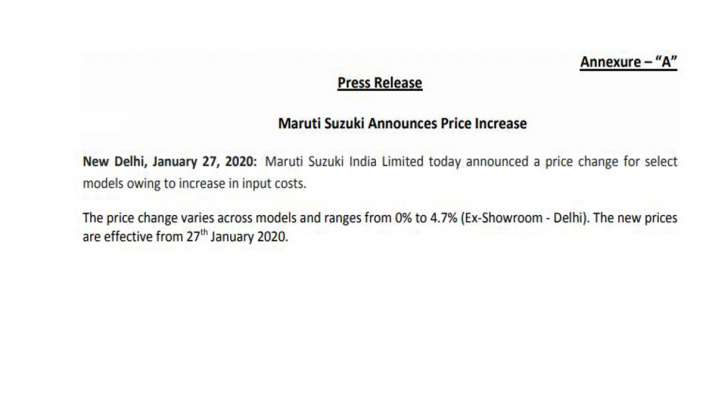 Maruti Suzuki announces price hike upto 4.7 percent