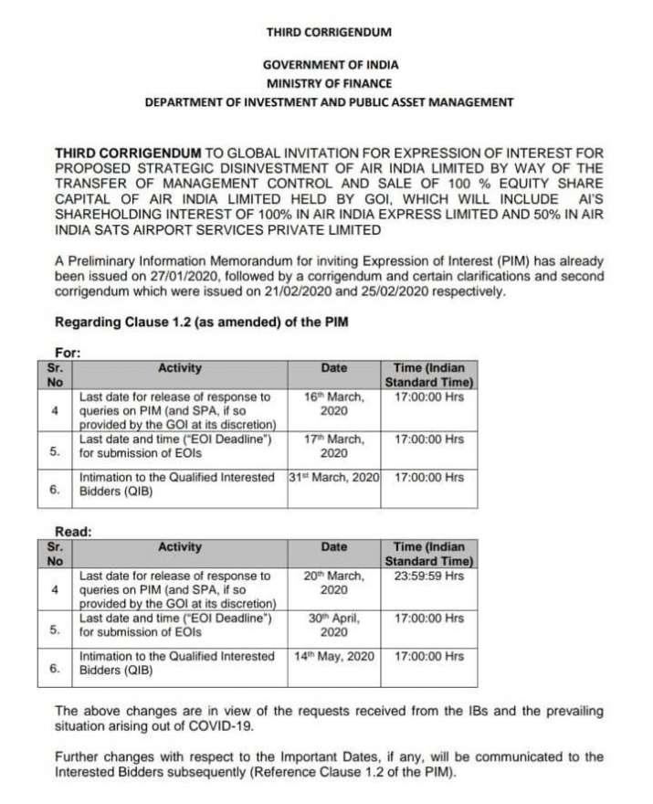 Air India, Air India Divestment
