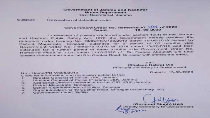 नजरबंदी से रिहा हुए जम्मू-कश्मीर के पूर्व सीएम फारूक अब्दुल्ला, केंद्र सरकार ने हटाया पीएसए