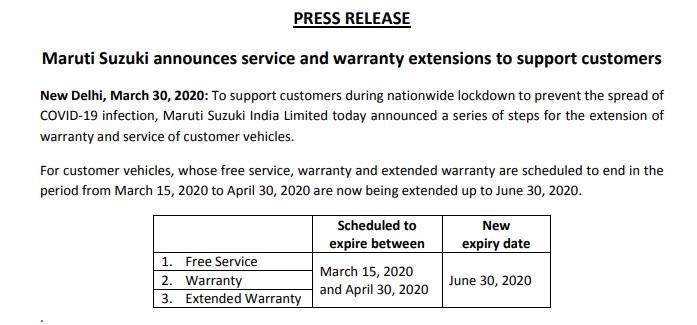 Maruti Suzuki service extension