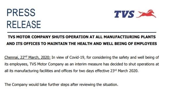 TVS Motor plants, shuts down