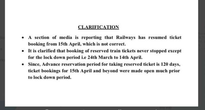 train reservations for journeys after 14th April were never stopped Railways clarify