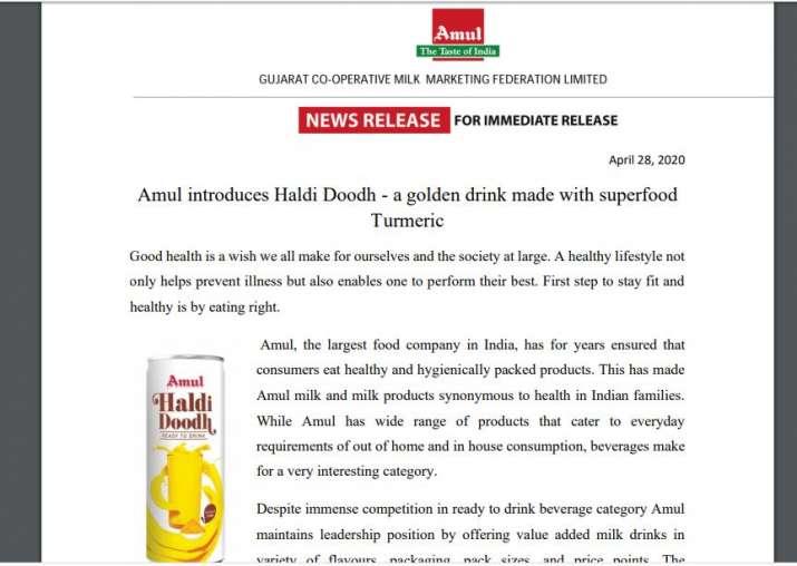 Amul introduces Haldi Doodh
