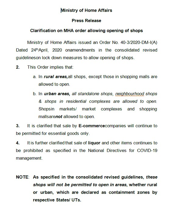 MHA notice on shops opening