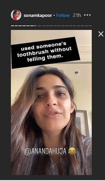sonam kapoor instagram story
