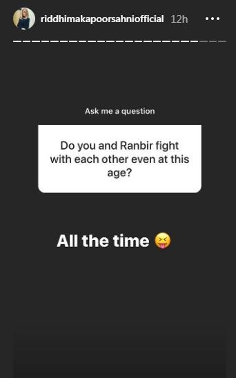 रिद्धिमा कपूर ने इंस्टाग्राम पर दिए सवालों के जवाब