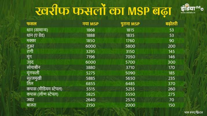 Paddy Cotton Tur Moong Maize Groundnut Soybean Urad and all other Kharif crops MSP for 2020-21