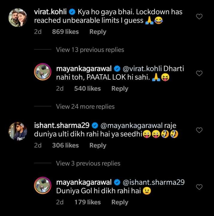 Virat Kohli and Ishant Sharma Troll Mayank Agarwal on His Workout Post