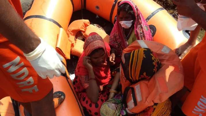 Woman gave birth to a baby girl on a rescue boat of NDRF (National Disaster Response Force) in flood