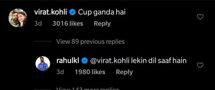 KL Rahul posted a picture of him drinking coffee, Virat Kohli trolled him