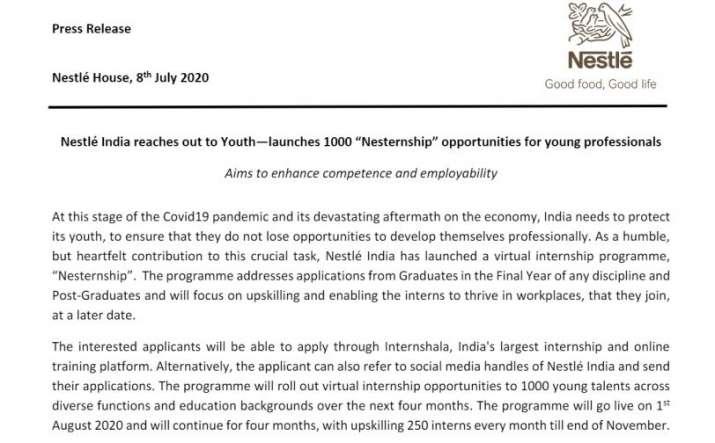 Nestle India Press Release