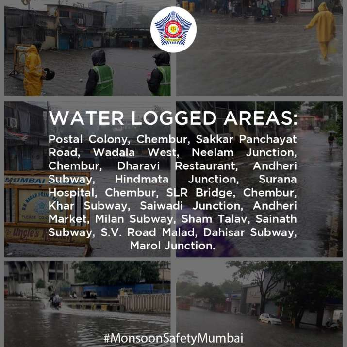 Water logged areas in Mumbai list by Mumbai Police
