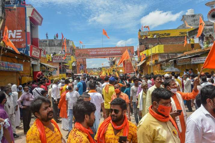 Devotees gather to attend the Bhoomi Pujan for the construction of Ram Temple, at Ram Janambhoomi si