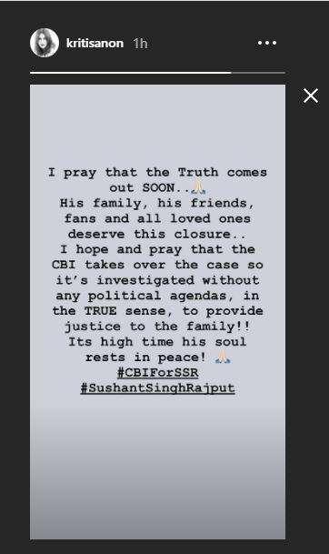 kriti sanon instagram story