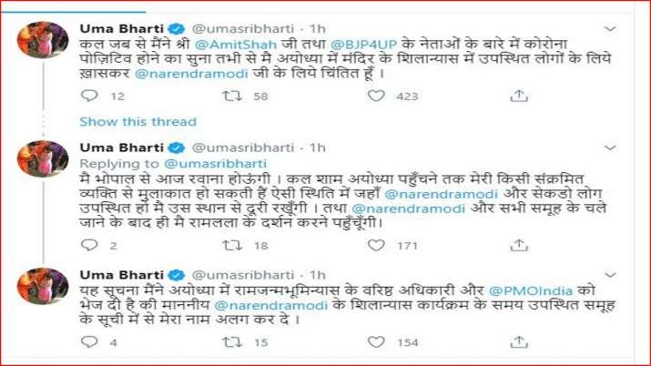 Uma Bharti tweet on Ram Mandir bhumi poojan
