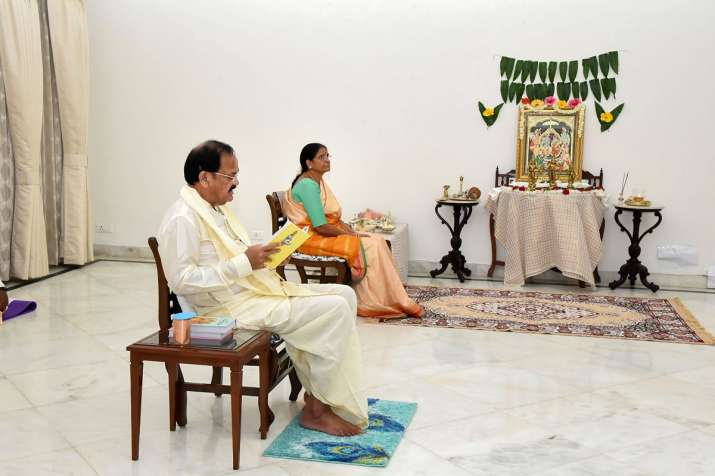 Vice President M Venkaiah Naidu along with his spouse Usha Naidu, reads Ramayana on the occasion of