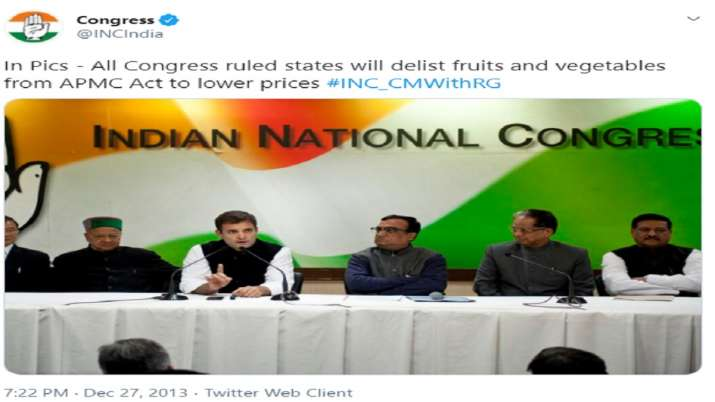Rahul Gandhi in 2013 said to delist fruits and vegetables form APMC act in all Congress ruled states