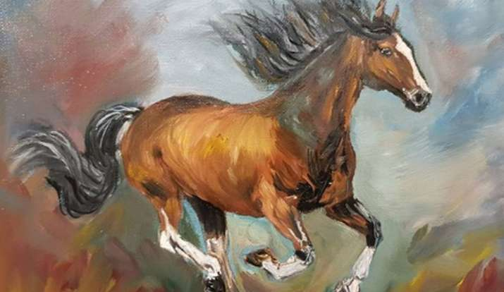 दौड़ते हुए घोड़े की तस्वीर