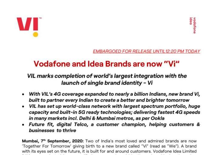 Vodafone idea ltd launches new Brand logo Vi