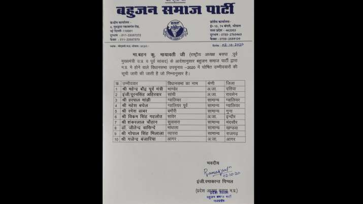 Madhya Pradesh: BSP announces names of 10 candidates for by-elections in 28 assembly seats