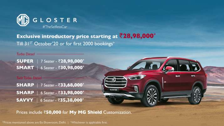 MG Motor launches premium SUV Gloster priced up to Rs 35.38 lakh