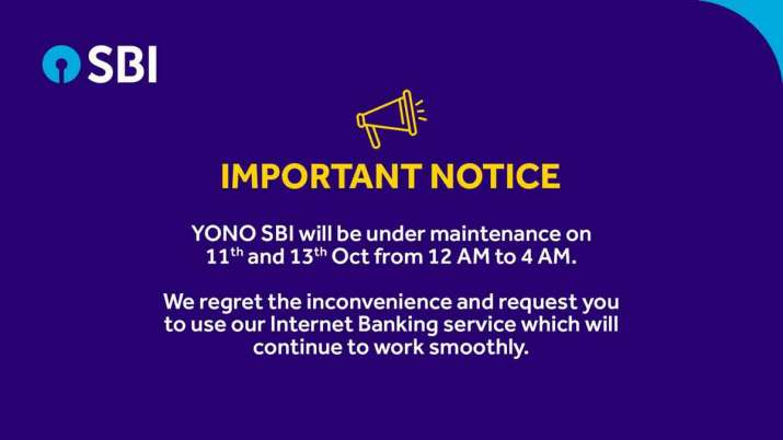 SBI important notice, YONO SBI will be under maintenance