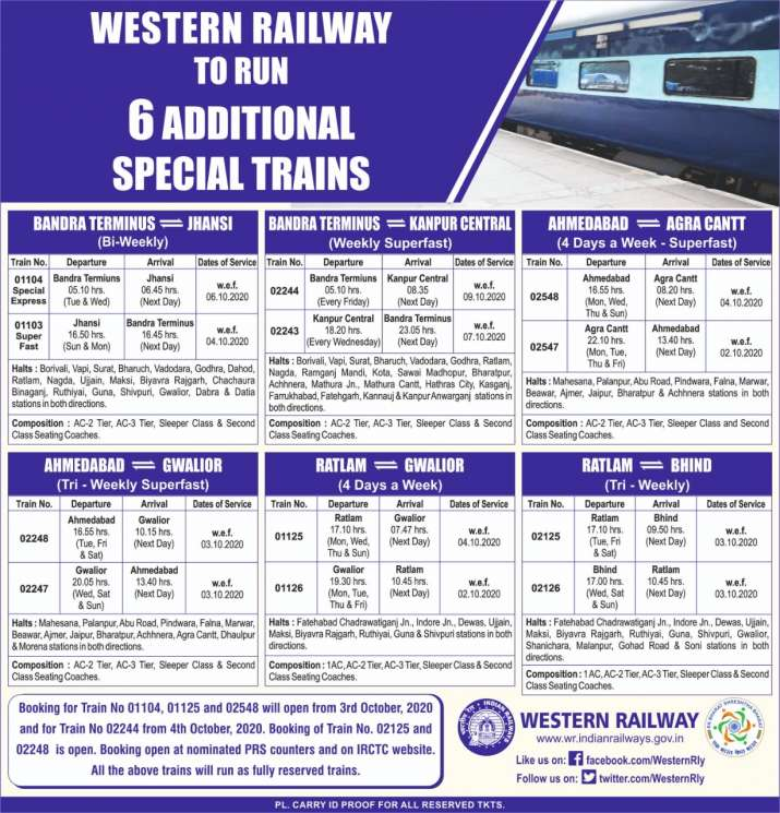 Special trains, Western Railway, Special trains news